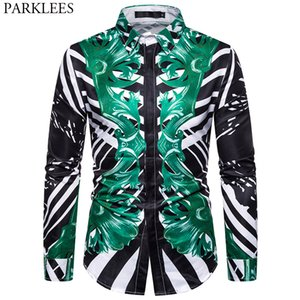 Floral a rayas camisa del smoking de los hombres 2020 nuevo estilo barroco camisas de vestir para hombre casual camiseta del club Sociales Hombres Streetwear