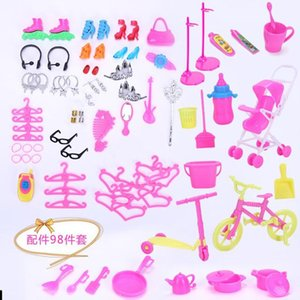 Cute 11 Inches Barbie Doll 81 Accessories, Baby Carriage, Bicycle, Play House Prop, Crown, Kitchen Utensils, etc. Xmas Kid Birthday Gift,2-1