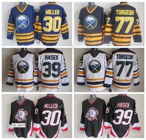 Hommes 30 Ryan Miller Maillot Bleu Noir Blanc Hockey Sur Glace Sabres De Buffalo Vintage Jersey 39 Dominic Hasek 77 Pierre Turgeon Uniformes