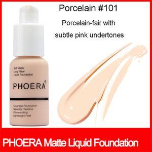 Известные торговые марки Face Makeup Foundation PHOERA Matte Oil-контроль Жидкая основа 10 цветов маскирующее мягкой матовой долго носить
