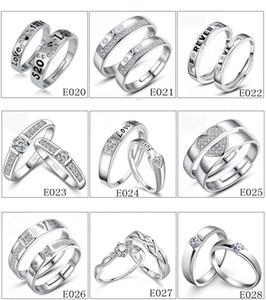 Marka Severler halka Boyutu ayarlanabilir Beyaz Elmas 925 Gümüş Nişan düğün band yüzük kadınlar için parmak takı Hediye