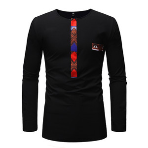 BAIBAZIN Novo Africano Dashiki Man T-shirt de Manga Longa Moda Printt África Homens Roupas Plus Size