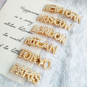 La nueva llegada clip cosecha de perlas Carta de pelo muchachas de las mujeres diseñador Carta Barrettes del pelo Accesorios de Moda regalo para el amor Novia