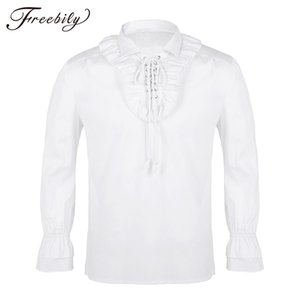 Men Turn-down Collar Long Sleeve Lace-up Front Ruffled Tuxedo Shirts Gothic Steampunk Victorian Pirate Cosplay Shirt