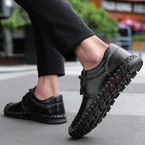 Nuovi uomini comodi scarpe casual fannulloni qualità Split scarpe degli uomini di cuoio degli appartamenti degli uomini caldi Mocassini Formato dei pattini 48 *