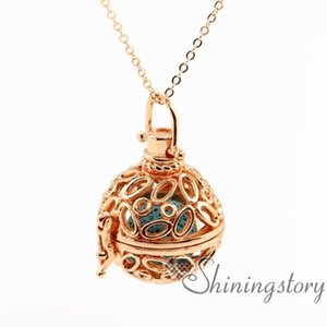 Oval Openwork Essential Oil Diffuser Necklace Diffuser Necklaces Wholesale Diffuser Necklaces Locket Pendant Necklace Metal Volcanic Stone