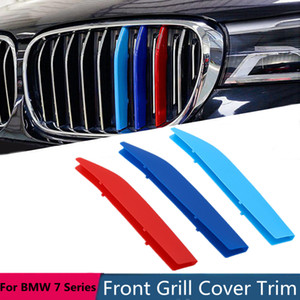 3pcs Grille Trim Cover Cover Sticker per BMW Serie 7 G11 G12 2016 2017 2018 3D M-colore anteriore auto Racing Grill Decorazione