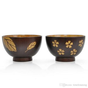 Hand-made Japanese Style Wooden Bowl Delicate Sakura Leaves Figure Noodle Rice Bowl Zizyphus Jujube Wood Soup Bowl Nice Lover Tableware