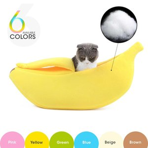 6 Colors Warm Banana Shape Pet Dog Cat Bed House Cozy Basket Durable Puppy Cushion Kennel Portable Bed For Cats Mat Supplies Y200330