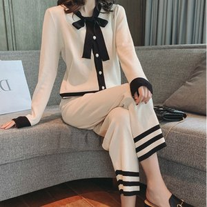 Mozuleva Women Bow Tie Collar Sweater Top+Wide leg Pant 2 Piece Suit Striped Sweater Suit Knitted Cardigans Pants Set Tracksuits T200702