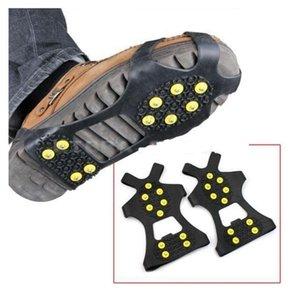Гололед Цанги Cleat Более обувь 10 Сталь Шпильки Ice Бутсы резиновые сапоги Шипы против скольжения лыжи Gripper ледолазанию обувь EWC410