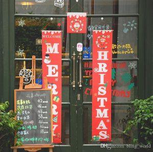 Bunte Weihnachts Stoff Couplets Tür Wandbehang Zeichen für draußen Garten Frohe Weihnachtsdekoration Banner Wand Anhänger LXL634