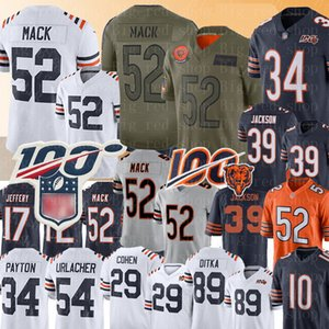 ChicagoOrso 52 Khalil Mack Jersey 34 Walter Payton Mitchell Trubisky Jersey 89 Mike Ditka 58 Roquan Smith 29 Tarik Cohen 39 maglie