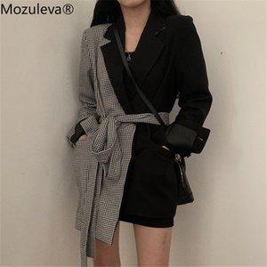 2019 femme blaser Mozuleva Moda Düzensiz Kadınlar Blazer Ofisi Bayanlar Kemer Ceket Ekose Patchwork Kadın Coat Dış Giyim