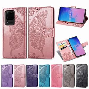 Pour iPhone 11 pro max Samsung LG Moto G8 Google Play OnePlus Sony papillon embosser en cuir souple flip classique Wallet Phone Case Cover
