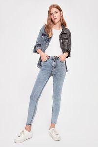 Trendyol Mavi-Flushing Yüksek Bel Skinny Jeans