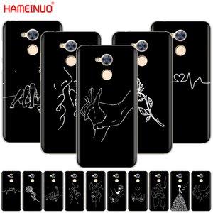 HAMEINUO Art White Line поцелуй любовь сердца цветок розы Девочка крышка телефона чехол для Huawei Honor 10 V10 4A 5A 6A 7A 6C 6X 7X 8 9 LITE