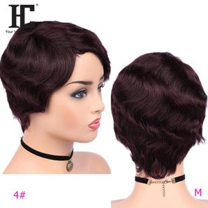 HC Pixie Cut Lace Front wigs 100% real Human Hair Wigs Brazilian Finger Wave Ocean Wave Lace Part Short Wigs