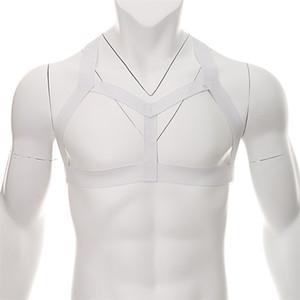Arnês Elásticos Homens Bondage Lingerie Oca Fora Lingerie Cintas Do Ombro Corpo Peito Músculo Hombre Arnes Homens Traje Sexy Halter