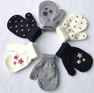 enfants gants gants de départ coeur tricot bébé mitaines stretch tricot enfants hiver garder doigt de gant plein chaud