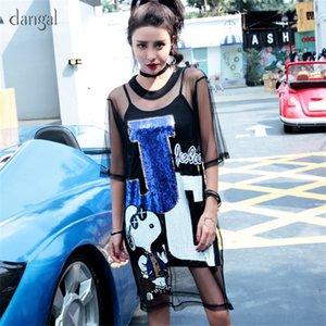 Dangal Dog Dress See Through Braces Two Piece Set Summer Suspender Loose Sequin Sling Dress T Shirt Dress with Sequins Black T200526