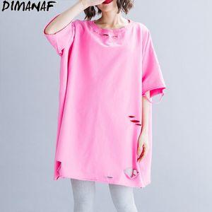 DIMANAF tamaño extra grande de las mujeres camisetas de algodón ocasional del verano señora Tops Tees Túnica Hole básico camisas sueltas de gran tamaño ropa Sólido 2020 T200512