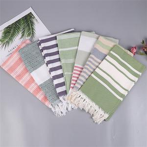 Asciugamani da spiaggia per sport all'aria aperta in Turchia Asciugamani da spiaggia per esterni a doppio colore multiuso in lino Asciugamano da bagno in lino cotone antiscivolo 22 5spD1