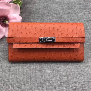 Autruche long Portefeuilles entier en cuir femmes porte-cartes Porte mode Sacs Cowskin cuir véritable viennent avec la boîte
