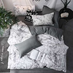 رخام أبيض نمط الأسرة Set Modern Polyester Cotton Faster Bedding Sets Duvet Cover Pillowcase 3pcs Not Sheet King Size