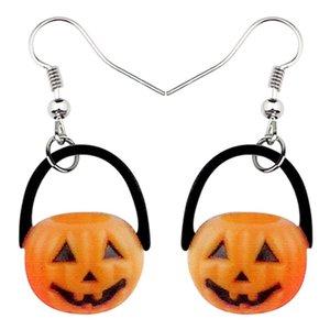 Акриловая Halloween Pumpkin Улыбайтесь серьги мотаться падение Большой Длинный милый завод украшения для женщин девочек подростков Подарочные аксессуары