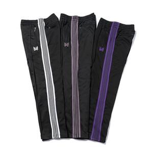 Casual Streetwear AWGE İğneler Sweatpants Kadın Erkek Çizgili Fermuar AWGE Pantolon Kelebek Nakış Koşucular İğneler Pantolon