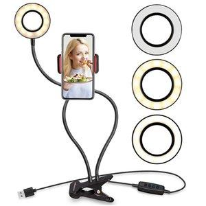 Selfie Light Ring avec support de téléphone mobile Support Lazy Support lampe de bureau pour le maquillage LED Diffusion en direct de la caméra Bras flexible