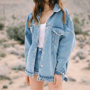 2019 Women's Oversized Denim Jacket Spring Autumn Korean Coat Harajuku Jeans Jacket Women Vintage Veste En Jean 5414 KJ2558