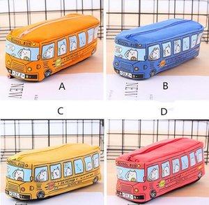 New School Bus caso sveglio matita, grande tela capienza sacchetto della matita auto