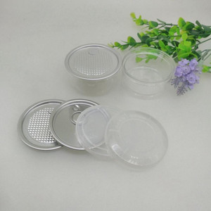 100ML 67 * 30mm Jar PET de plástico com metal Lid Container Food Herb Caixa de armazenamento Food Jars Transparente Food garrafa lacrada Vasilhas ZZA2283N