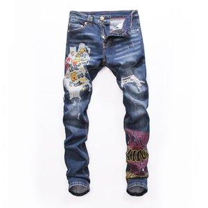 Erkek sıkıntılı ripped Biker Jeans Slim Fit Motosiklet Biker Denim erkekler Için moda Balma tasarımcı Hip Hop erkekler pantolon ripped kot