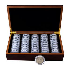 50 cajas de almacenamiento de monedas Caja redonda de almacenamiento de monedas Caja de madera Colección de muebles conmemorativos Acrílico