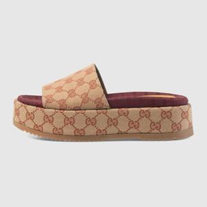 DHL-freies Verschiffen Leinwand mit Echtem Leder Frauen Originale slide Sandale 573018 Hohe Qualität Luxus flip flops Designer Sandale 35-40