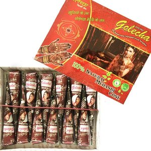 Body Golecha Natural Mehndi Henna Cones Indian Henna Tattoo Paste for Temporary Tattoo Sticker Mehndi Makeup Body Paint 12Pcs