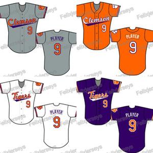 NCAA Personalizado Clemson Tigers Jérsei De Basebol Universitário Mulheres Homens Juventude Branco Tudo Costurado Jerseys de Beisebol Rápido Frete Grátis