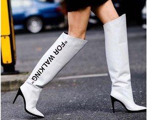 Vente Chaude-Femme Cuisse-Haut Bottes Design Marque Noir Sexy Cuisse Haute Bottes Féminines Sexy Talons Femal Bout Pointu Chaussures Chaudes