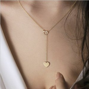 Y forma semplice ciondolo cuore collana in argento con cuore vuoto-intagliato e color oro placcato con catena in metallo
