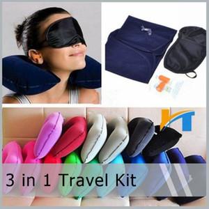 3 en 1 camping en plein air Kit de voiture Voyage Avion gonflable oreiller de cou Support Coussin + Masque Shade yeux Blinder + bouchons d'oreille Outils RRA1519