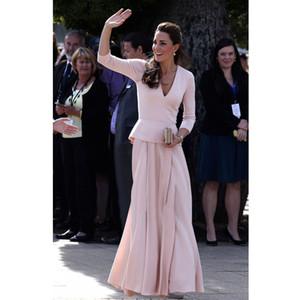 Rose Une ligne longue robes de la mère avec trois quarts des manches à volants taille Satin plis jupe robe formelle robe de mariée sur mesure faite sur mesure