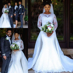 2020 South African Mermaid Wedding Dresses With Sweep Train Lace Sheer Long Sleeves Bridal Gowns Custom Made Wedding Dress