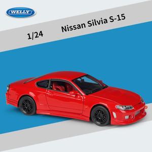 Welly Diecast сплав Nissan Silvia S-15 модель автомобиля игрушка, спортивный автомобиль, 1: 24 высокое моделирование, орнамент для рождественских подарков на День рождения малыша, сбор 2-1