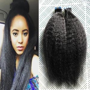 rizado recto extensiones de cabello humano venta 100g brasileño gruesa yaki 40pcs pelo virginal / Set aplicar cinta adhesiva trama de la piel del pelo