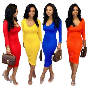 Sexy Women Designer Dress Long Sleeve Scoop Neck Ladies Dress Autumn Solid Color Dresses New Arrival