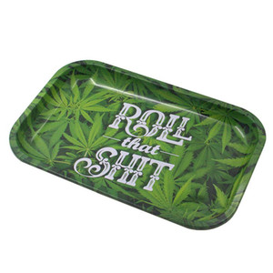 Home Storage Trays Tinplate Metal Rolling Tray HD Pattern Printed Holder Smoking Accessories
