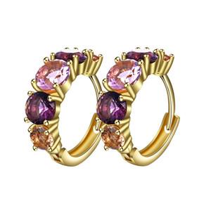 Mode Boucles d'oreilles Hoop pour les femmes plaqué or couleur avec Rose Violet Cristal Boucles d'oreilles Zircon Bijoux Déclaration 2019 de haute qualité